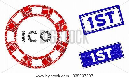 Mosaic Ico Token Icon And Rectangular Seal Stamps. Flat Vector Ico Token Mosaic Icon Of Scattered Ro