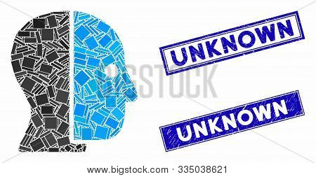 Mosaic Hidden Profile Pictogram And Rectangle Seal Stamps. Flat Vector Hidden Profile Mosaic Pictogr