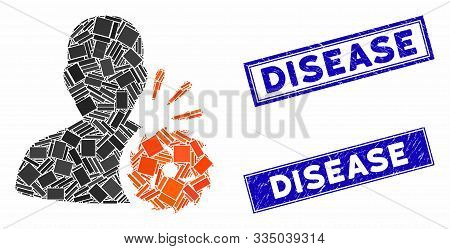 Mosaic Body Execution Pictogram And Rectangular Stamps. Flat Vector Body Execution Mosaic Pictogram