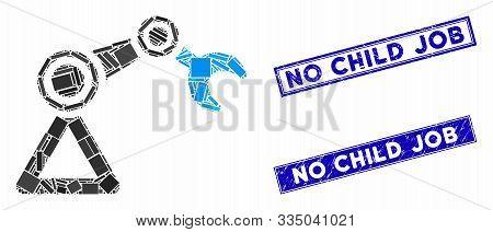 Mosaic Robotics Manipulator Icon And Rectangular Seal Stamps. Flat Vector Robotics Manipulator Mosai