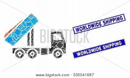 Mosaic Unloading Tipper Icon And Rectangular Seal Stamps. Flat Vector Unloading Tipper Mosaic Icon O