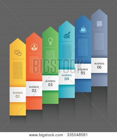 6 Data Infographics Tab Paper Arrow Template. Vector Illustration Abstract Background. Can Be Used F