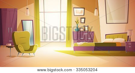 Bedroom Interior Cartoon Vector Illustration. Comfortable Living Room Interior With Double Bed, Ward