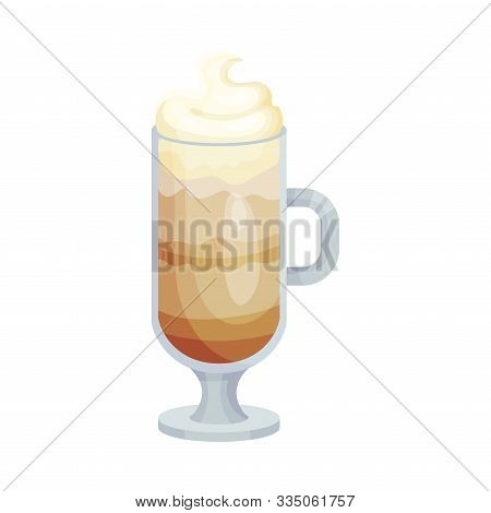 Glass With Latte Macchiato Isolated On White Background