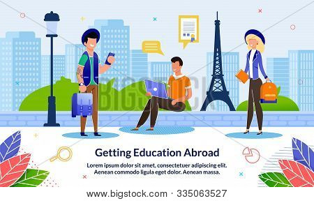 Flat Banner Getting Education Abroad, Cartoon. Guy Is Sitting With Laptop His Hands On Sidewalk Agai
