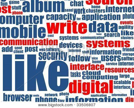 Concetto di Social Media con Internet parole correlate