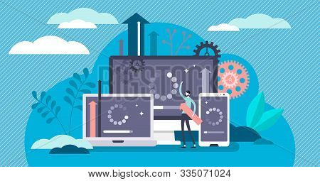 Update And Upgrade Software Flat Tiny Person Concept Vector Illustration. Multiple Cross Platform Sy