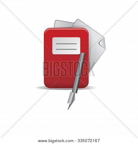 List In Folder Flat Icon. Document With Pen In Folder Color Icons In Trendy Flat Style. Paper Gradie