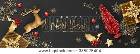 Christmas And New Year Banner. Christmas Background With Realistic Golden Deer Figurine, Artificial