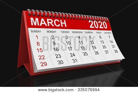 3d Illustration. Calendar -  March 2020  (clipping Path Included)