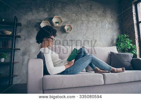 Profile Photo Of Amazing Dark Skin Curly Lady Holding Favorite Historic Love Novel Hands Reading Wit