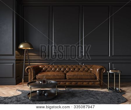 Modern Classic Black Interior With Capitone Brown Leather Chester Sofa, Floor Lamp, Coffee Table, Ca