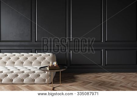 Modern Classic Black Interior With Capitone Chester Sofa, Coffee Table, Wood Floor, Mouldings. 3d Re