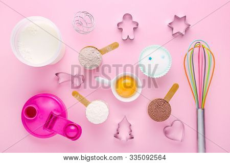 Fitness Diet Concept, Baking Protein, Sugar Substitute Erythritol And Eggs For Dessert Making, Flat