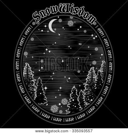 Winter Forest On The Background Of Starry Sky, Crescent Moon And Snowflakes. The Design On The Celti