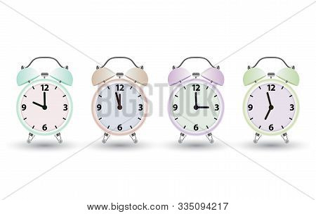 Alarm Clock Logo Icon Set. Watch Object, Time Office Symbol. Clock Realistic Icon. Time Logo. Watch