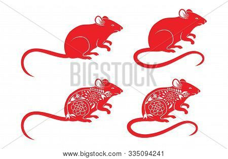 Set Of Rats For Sign. Red Rat. 2020. Rat Zodiac. Red Mouse Silhouette. Rat Poses. Rat Cartoon New Ye