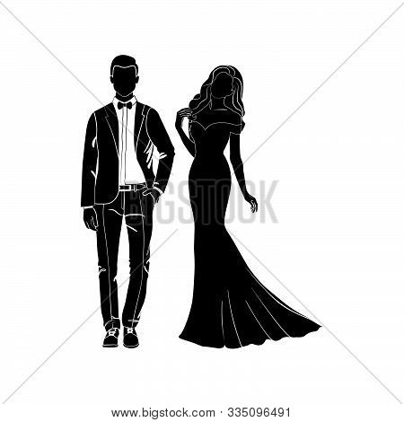Fashionable Girl And Guy Vector. Fashion. Man And Woman Silhouette Vector. Fashionable Young Couple.
