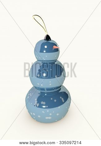 3D Illustration Of Merry Christmas Tree Toy Snowman With Snowflakes Design