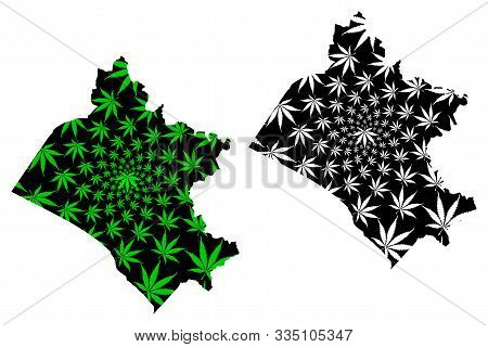 Department Of Lambayeque (republic Of Peru, Regions Of Peru) Map Is Designed Cannabis Leaf Green And