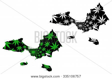 Nueva Esparta State (venezuela) Map Is Designed Cannabis Leaf Green And Black, Estado Nueva Esparta