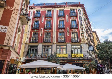 Madrid, Spain - January 23, 2019: Posada Del Peine Building - One Of The Oldest Inns In Madrid City