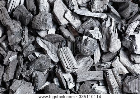 Natural Wood Charcoal, Traditional Charcoal Or Hardwood Charcoal, Top View.