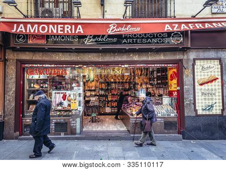 Madrid, Spain - January 23, 2019: Bartolome Gourmet Shop Located On Salt Street In Madrid City