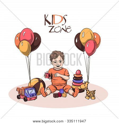 Little Kid Sitting And Plaing With Toys