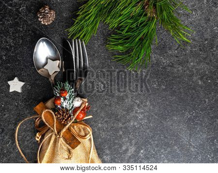 Festive Greeting Card Merry Christmas And Happy New Year, Winter Holiday Dinner Spoon, Fork, Knife I