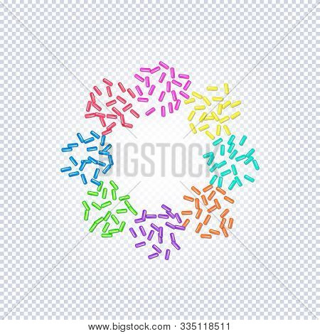 Sprinkle With Grains Of Desserts. Sprinkled Grainy Abstract Floweron A Transparent Background. Desig