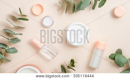 Flat Lay Composition With Natural Organic Cosmetic Products On Beige Background. Top View Hand Cream