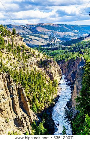 View From Calcite Springs Overlook Of The Yellowstone River. The Overlook Is At The Downstream End O