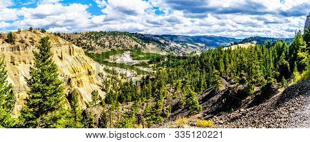 Panorama View Of The Yellowstone River Just North Of Tower Junction. The Viewpoint Is At The Downstr