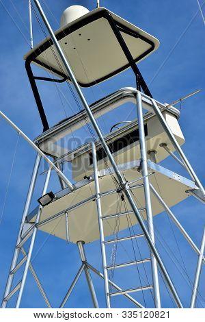 Charter Fishing Boat Flying Bridge Background At Boa Marrina