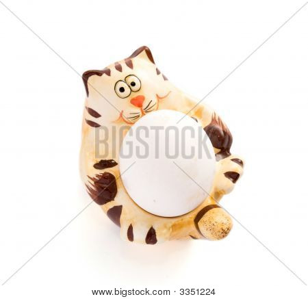 Isolated  Ceramic Cat