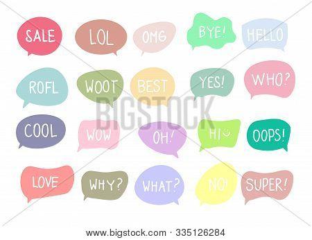 Vector Set Of Speech Bubbles With Handwritten Short Phrases Sale, Lol, Omg, Bye, Hello, Rofl, Woot,