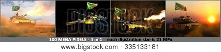 Zambia Army Concept - 4 Detailed Illustrations Of Tank With Fictional Design With Zambia Flag And Fr