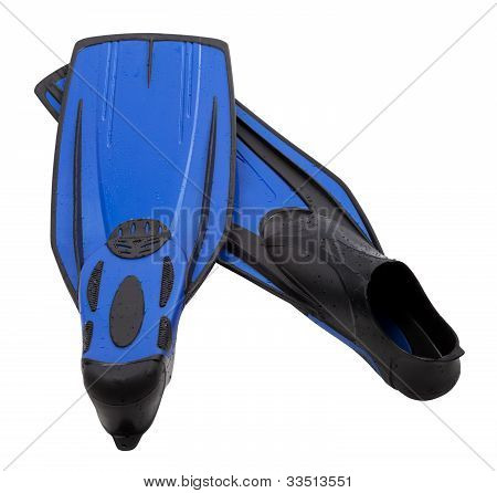 Pair Flippers For Diving With Water Drops