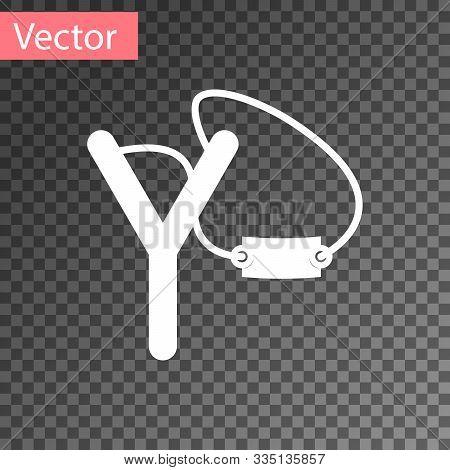 White Slingshot Icon Isolated On Transparent Background. Vector Illustration