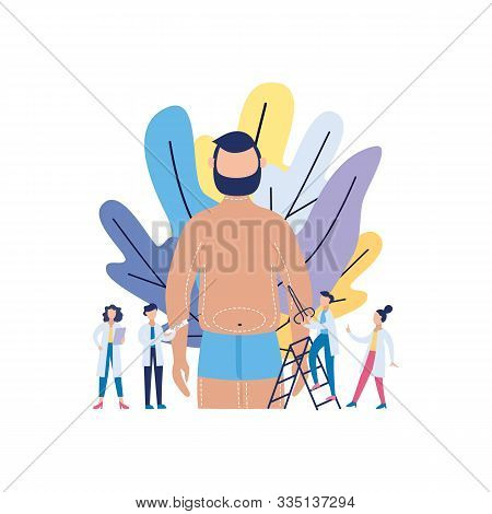 Liposuction And Aesthetic Surgery Banner Flat Vector Illustration Isolated.
