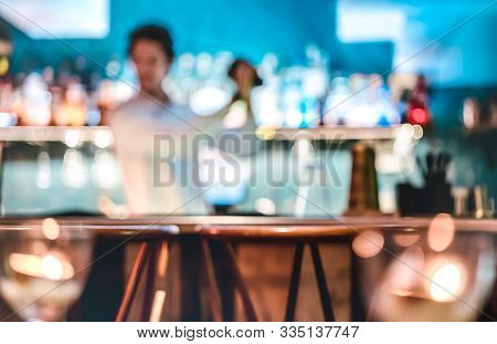 Blurred Defocused Fashion Barman Shaking Cocktail At Speakeasy Retro Bar On Happy Hour - Mixology Co