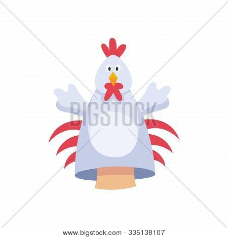 Hands Rooster Or Chicken Character Fabric Puppet Icon, Flat Cartoon Vector Illustration Isolated.