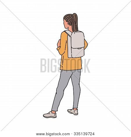 Cartoon Woman Standing Seen From Behind - Young Girl With Backpack
