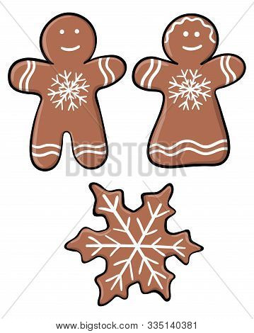 Set Of Christmas Gingerbread Isolated On White Background. Vector Cartoon Set: Men, Woman, Snowflake