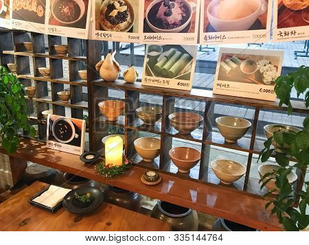 Seoul, South Korea - November 3, 2019: Pictures With Prices Of Local Sweets On Wall Of Teahouse In I