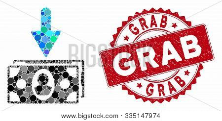 Mosaic Banknotes Income And Grunge Stamp Seal With Grab Caption. Mosaic Vector Is Created From Bankn