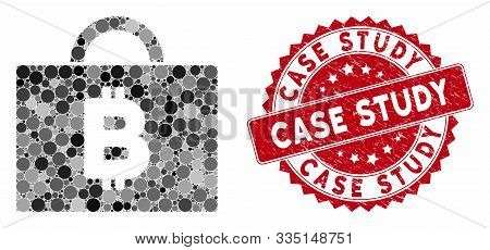 Mosaic Bitcoin Accounting Case And Grunge Stamp Seal With Case Study Phrase. Mosaic Vector Is Create