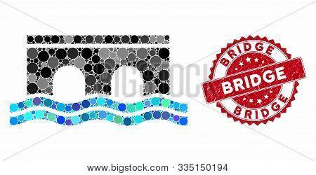 Collage Bridge And Rubber Stamp Watermark With Bridge Caption. Mosaic Vector Is Created With Bridge