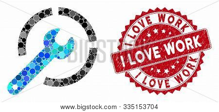 Collage Configure Spanner And Rubber Stamp Seal With I Love Work Text. Mosaic Vector Is Created With